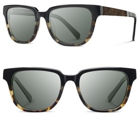 Shwood Men's 'Prescott' 52Mm Acetate & Wood Sunglasses - Black Olive/ Elm/ Grey