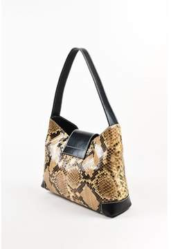 Lambertson Truex Pre-owned Black Taupe Snakeskin Leather Shoulder Bag.