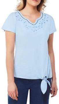 Allison Daley Petites Embroidered Notch V- Neck Embellished Side Tie Solid Tee
