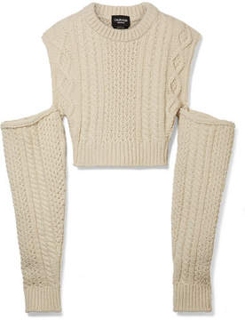 Calvin Klein Cold-shoulder Cropped Cable-knit Wool-blend Sweater - Ecru