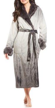 Cabernet Faux-Fur-Trimmed Ombr Plush Fleece Wrap Robe