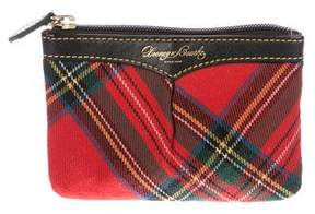 Dooney & Bourke Leather-Trimmed Tartan Coin Purse - RED - STYLE