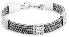 Lois Hill Handwoven Sterling Silver & Diamond Bracelet