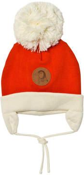 Mini Rodini Red Penguin Baby Hat