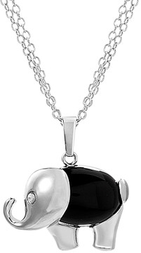 Bliss Onyx & Silvertone Elephant Pendant Necklace