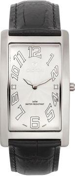 Croton Mens Black And White Rectangular Strap Watches