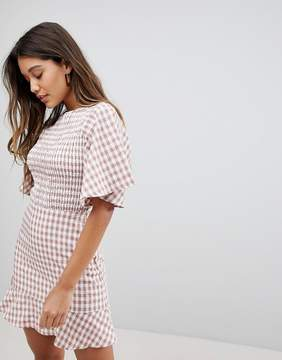 Fashion Union Tea Dress With Ruffle In Check