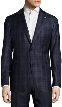 Lubiam Men's Regular Fit Plaid Wool Sportcoat