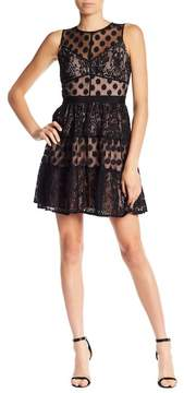 Adelyn Rae Illusion Lace Fit & Flare Dress