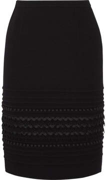 Oscar de la Renta Embellished Wool-blend Crepe Skirt - Black