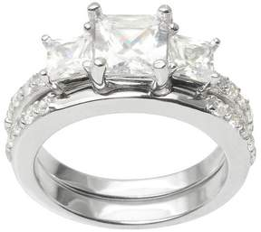 Journee Collection 2 1/5 CT. T.W. Princess Cut CZ Basket Set Elegant Ring in Sterling Silver - Silver