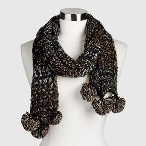 World Market Black and Gray Metallic Scarf with Pompoms