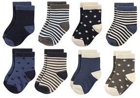 Hudson Baby Navy & Cream Star & Stripe Eight-Pair Socks Set - Infant & Kids