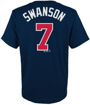 Majestic Boys 4-18 Atlanta Braves Dansby Swanson Player Name and Number Tee