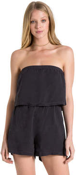 Bella Dahl Strapless Flowy Romper-Black Magic-XS