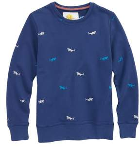 Boden Mini Castaway Shark Embroidered Sweatshirt