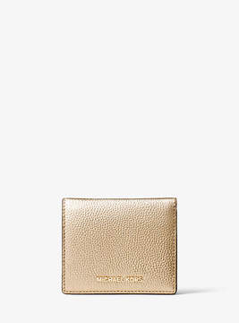 Michael Kors Mercer Metallic Leather Card Case - GOLD - STYLE