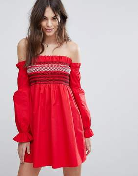 Fashion Union Shirred Off Shoulder Dress With Balloon Sleeves