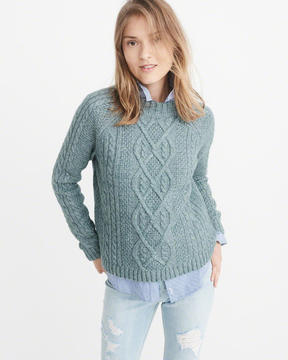Abercrombie & Fitch Airspun Mock Neck Cable Sweater
