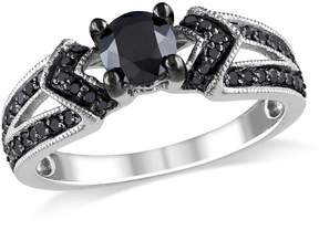 Black Diamond Amour 1 CT Sterling Silver Engagement Ring - Size 7