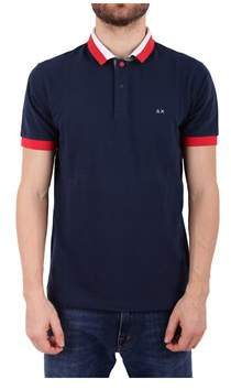 Sun 68 Men's Blue Cotton Polo Shirt.