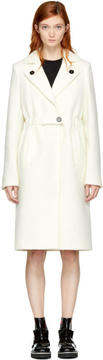 Carven White Long Wool Trench Coat