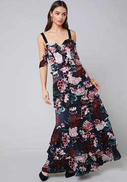 Bebe Print Tiered Gown
