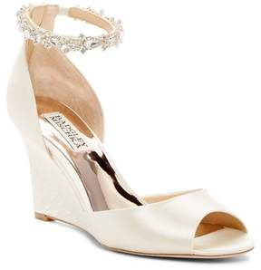 Badgley Mischka Thalia Crystal Embellished Wedge Heel Sandal