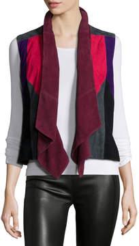 Bagatelle Patchwork Suede Vest, Multi Colors