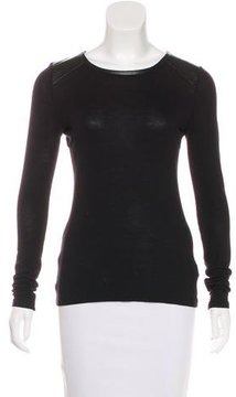 Cynthia Rowley Vegan Leather-Accented Long Sleeve Top