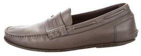 Fendi Logo Leather Loafers