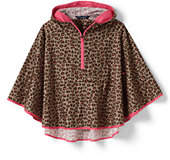Lands' End Toddler Girls Poncho-Taupe Tan Small Leopard