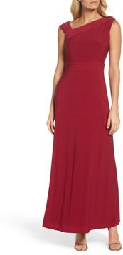 Ellen Tracy Women's Asymmetrical Neck Jersey Gown