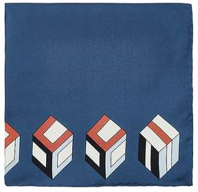 Gucci Men's Logo-Cube-Print Silk Pocket Square