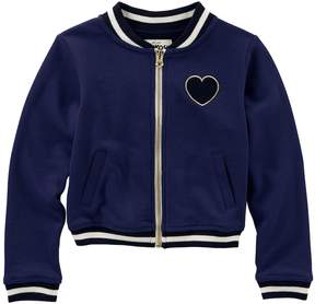 Osh Kosh Girls 4-12 Heart & Striped Varsity Jacket