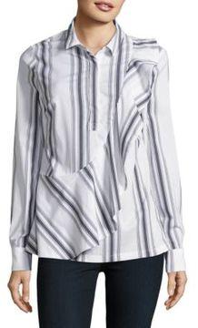 Context Ruffled Button-Front Shirt