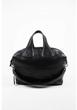 Givenchy Pre-owned Black Calfskin Leather & Embossed Crocodile nightingale Satchel Bag.