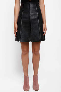 Bishop + Young Bishop & Young Leather A-Line Skirt with Trim
