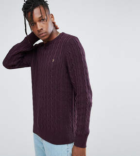 Farah Ludwig Cable Knit Sweater in Burgundy