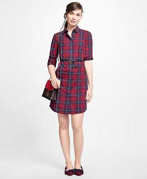 Brooks Brothers Cotton Plaid Shirt Dress
