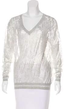 White + Warren Iridescent Mesh Knit Top