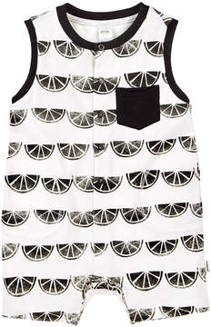 Petit Lem Black & White Citrus Slice Romper - Newborn & Infant