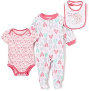 Baby Starters Hot Pink & Gray 'You Make Me Smile' Footie Set - Infant
