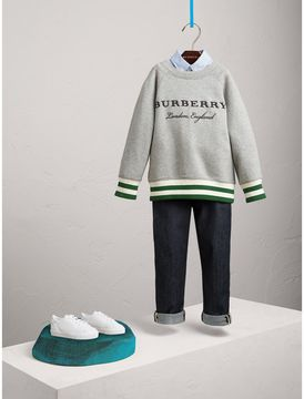 Burberry Contrast Stripe Cotton Jersey Sweatshirt