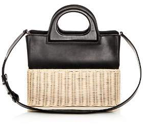 Max Mara Leather & Wicker Tote