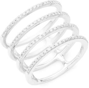 Ef Collection Women's Spiral Diamond & 14K White Gold Ring
