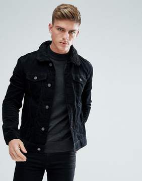 Brave Soul Cord Jacket with Fleece Collar