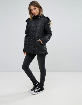 Bellfield Simpron Padded Belted Parka with Faux Fur Trim