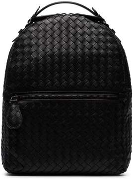 Bottega Veneta black intrecciato leather backpack