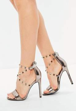Missguided Silver Studded Perspex Cross Strap Sandals